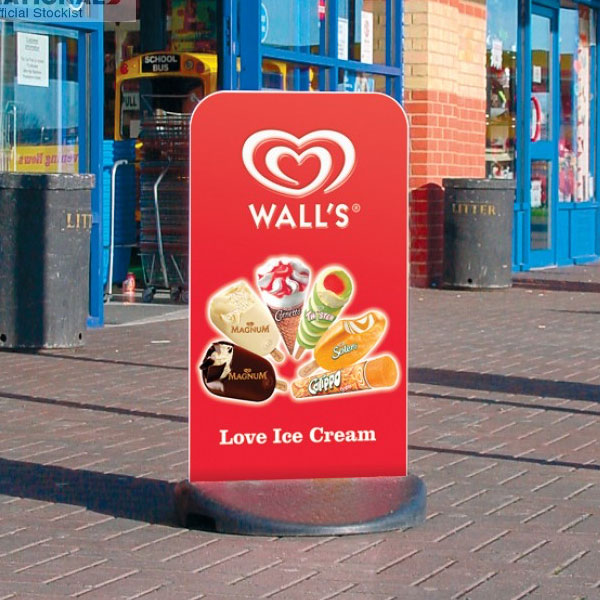 pavement ice-cream sign