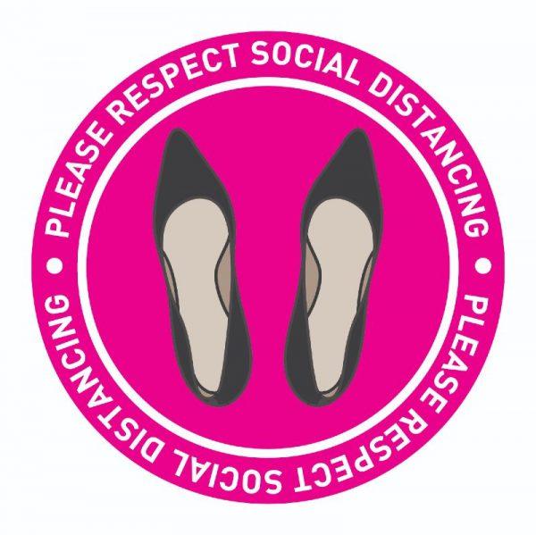 pink social distancing floor sticker